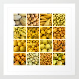 Yellow fruits & Vegetables. Home decor: Modern, colorful collage for your kitchen, home and cafe. Art Print