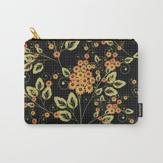 Bright floral pattern on a black background. Carry-All Pouch