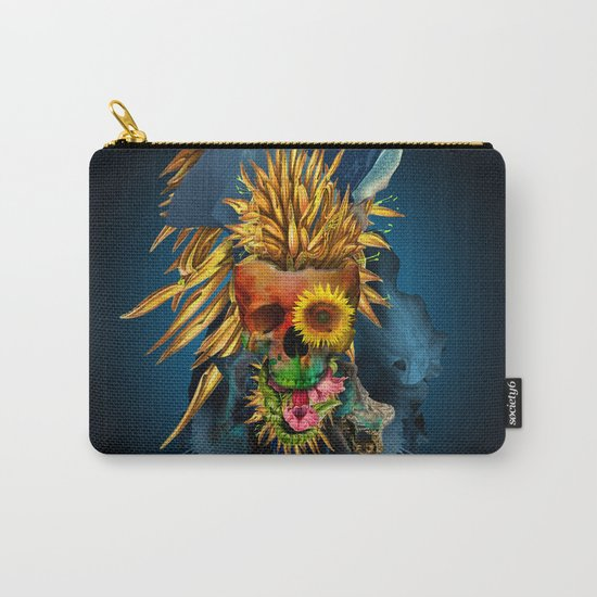 Floral Skull Vivid III Carry-All Pouch