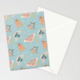 Moth & Moons Pattern - Light Blue Stationery Cards