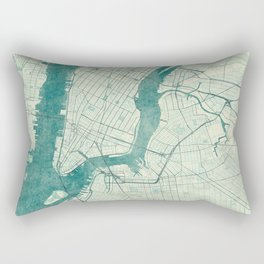 New York Map Blue Vintage Rectangular Pillow