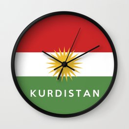 Kurdistan country flag name text Wall Clock