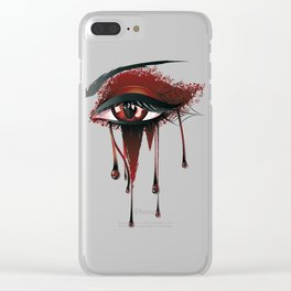 Red vampire eye makeup Clear iPhone Case