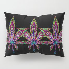 Neon Cannabis Leaf Pillow Sham