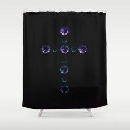Blue Bejewelled Cross Shower Curtain