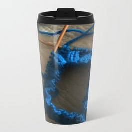 knit, knitting, royal blue, leg warmer, knitting, needles, blue, yarn, blue yarn, quilt, Metal Travel Mug