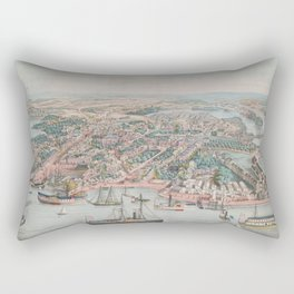 Vintage Pictorial Map of Annapolis MD (1864) Rectangular Pillow
