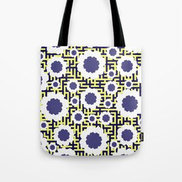 Floral maze in yellow and blue Tote Bag