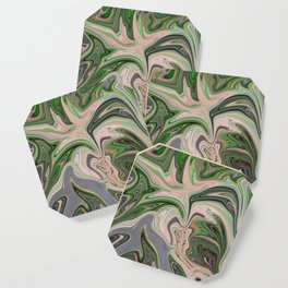 Golden Green swirls Abstract Coaster
