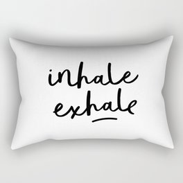 Inhale Exhale black and white contemporary minimalism typography print home wall decor bedroom Rectangular Pillow
