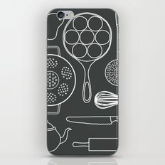 kitchen tools (white on black) iPhone & iPod Skin