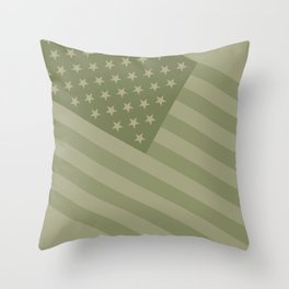 Camo Stars and Stripes – USA Flag in Military Camouflage Colors [FalseFlag 1] Throw Pillow