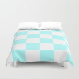 Large Checkered - White and Celeste Cyan Duvet Cover