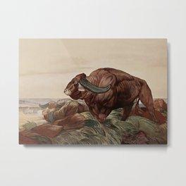 """Return of the Buffalo Herd"" from Kipling's Tales of India Metal Print"