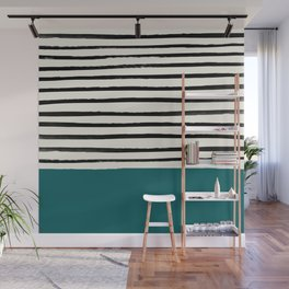 Dark Turquoise & Stripes Wall Mural
