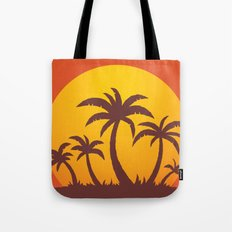 Palm Trees And Summer Sunset Tote Bag