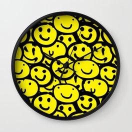 Smiley Face Yellow Wall Clock