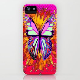 Rainbow Colored Butterfly On Red-fuchsia Sunflower Floral  iPhone Case