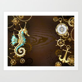 Wooden Background with Mechanical Seahorse ( Steampunk ) Art Print