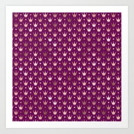 Purple & Rose Gold Crown Pattern Art Print