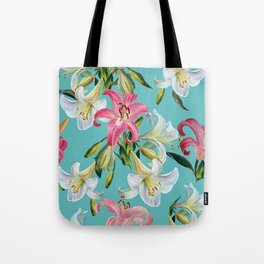 White and pink lily on blue background.Watercolor painting. Tote Bag