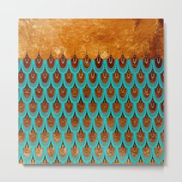 Copper Metal Foil and Aqua Mermaid Scales- Abstract glitter pattern Metal Print