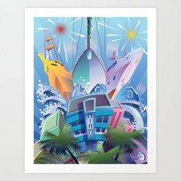 YACHTS OVER MIAMI BEACH Art Print