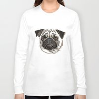 pug Long Sleeve T-shirts featuring Pug by Tish
