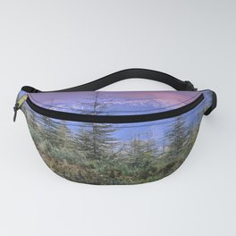 Sierra Nevada at sunset. Purple clouds Fanny Pack