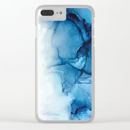 Blue Tides - Alcohol Ink Painting Clear iPhone Case