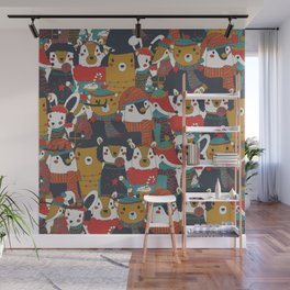 Funky Retro Christmas Animals Wall Mural