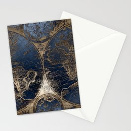 World Map Deep Blue and Gold Stationery Cards