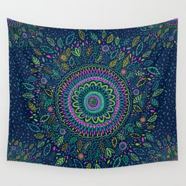 Midnight Garden Mandala Wall Tapestry
