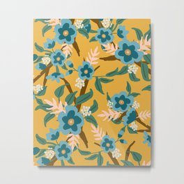 Yellow and Blue Floral Metal Print