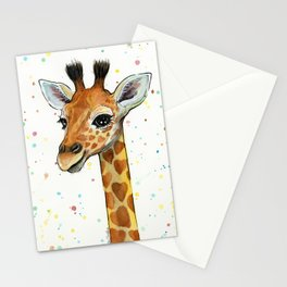 Baby-Giraffe-Nursery-Print-Watercolor-Animal-Portrait-Hearts Stationery Cards