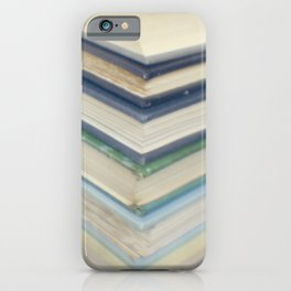 Blue chevron books iPhone Case