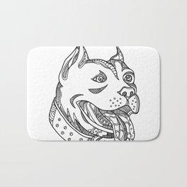 Pit Bull Head Doodle Art Bath Mat