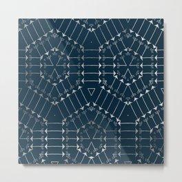 Navy Silver Arrow Geometric Pattern Metal Print