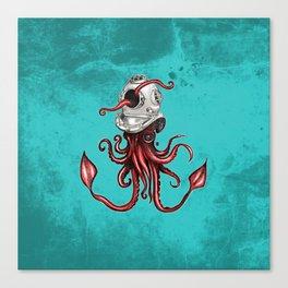 Squid with Diving Helmet Canvas Print