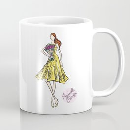 "Hayworth Design Fashion Illustration ""Fashionable Girl in Yellow Dress with Flowers"" Coffee Mug"