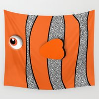 nemo Wall Tapestries featuring Ornamental Orange Fish Apple iPhone 4 4s 5 5s 5c, ipod, ipad, pillow case and tshirt by Three Second