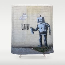 Banksy Robot (Coney Island, NYC) Shower Curtain