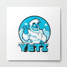 Smiling cartoon yeti Metal Print