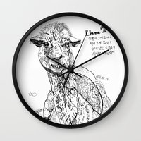 llama Wall Clocks featuring Llama by ARI(Sunha Jung)
