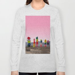 Seven Magic Mountains with Pink Sky - Las Vegas Long Sleeve T-shirt