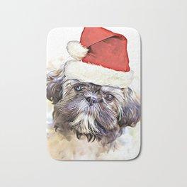 Christmas Shih Tzu puppy Bath Mat