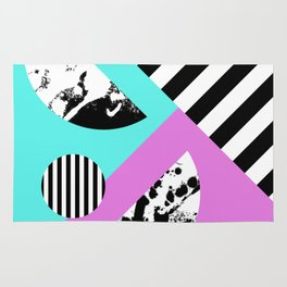 Stripes And Splats 2 - Random, Crazy, Abstract, Geometric, Black And White, Cyan, Pink Artwork Rug