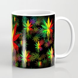 Marijuana Leaf Rasta Colors Dripping Paint Coffee Mug