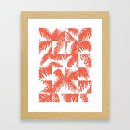 Palm Leaf Pattern Orange Framed Art Print