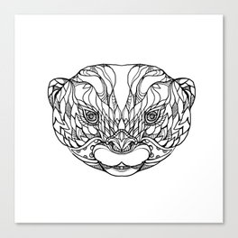 Oriental Small-clawed Otter Doodle Art Canvas Print